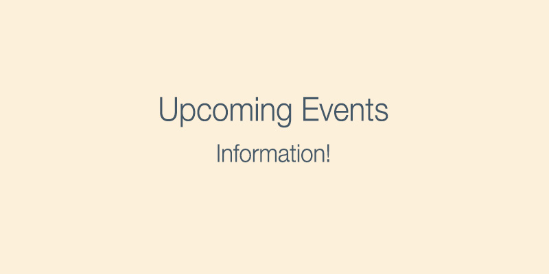 Upcoming Events During 2021